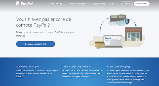 etapes pour ouvrir compte PayPal